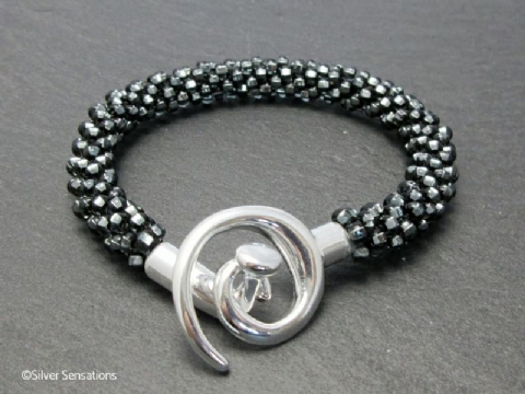 Silvery Black Diamond Beaded & Woven Kumihimo Seed Bead Bracelet